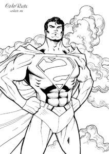 Раскраска с Суперменом на фоне взрыва скачать и распечатать