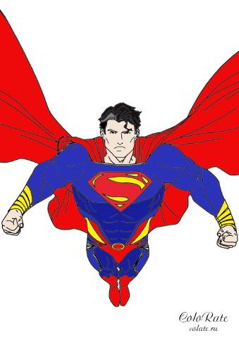 Супермен - пример раскрашивания героя