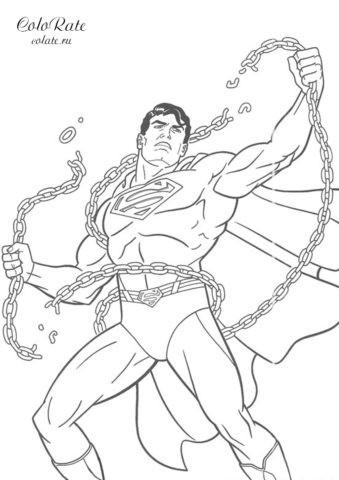 Супермен разрывает цепи - раскраска для печати на А4