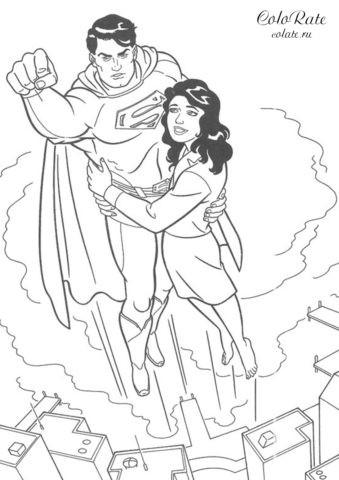 Раскраска для детей - Супермен спасает Лоис Лейн