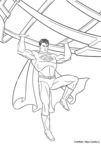 """Бесплатная разукрашка """"Супермен в деле"""" для мальчика"""