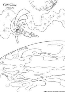 Герой смотрит на планету - раскраску распечатать