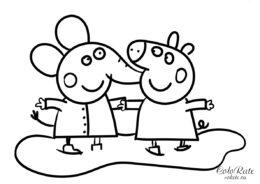 Свинка Пеппа и слоненок Эмили - распечатать на А4 бесплатную раскраску