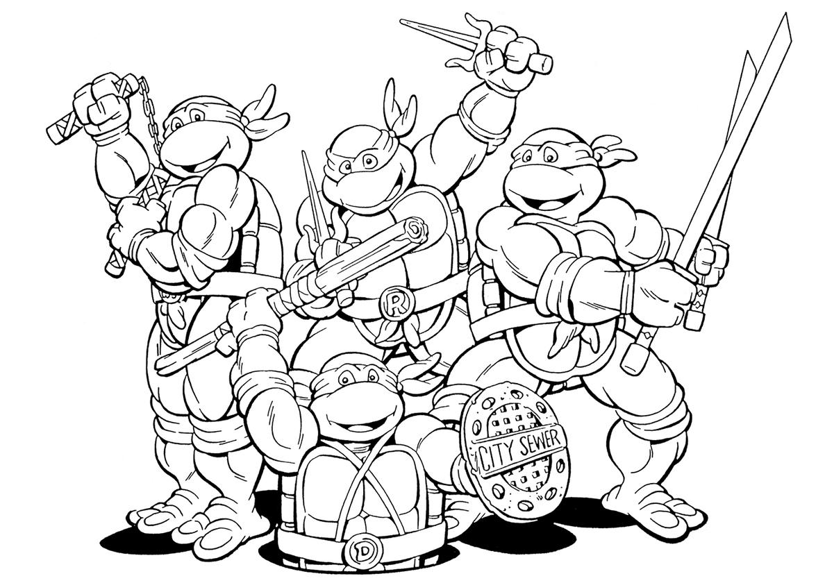 Раскраска TMNT - мультяшные Черепашки-ниндзя распечатать