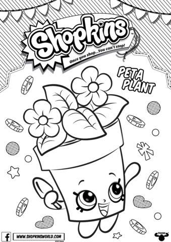 Шопкинс - Цветочный горшок Пета Плант - раскраска для девочек