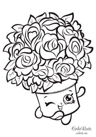 Цветочный горшок Шопкинс с розами - бесплатная разукрашка