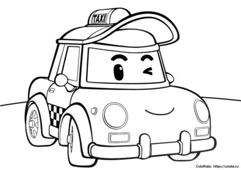 Раскраска из мультфильма Робокар Поли - такси Кэб