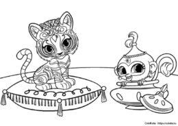 Бесплатная раскраска - Тала и Нала из мультсериала Шиммер и Шайн