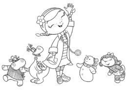 Раскраска - Танец здоровья - из мультфильма Доктор Плюшева распечатать на А4