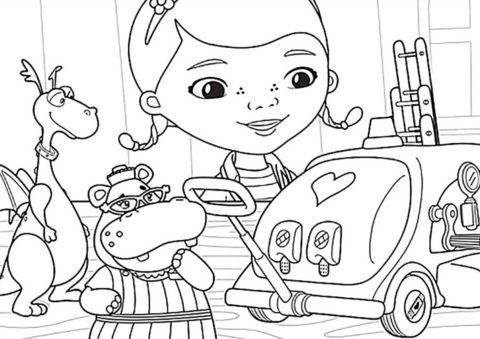 Тележка скорой помощи - скачать разукрашку для детей