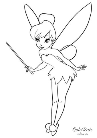 Динь-Динь с палочкой - раскраска для девочек