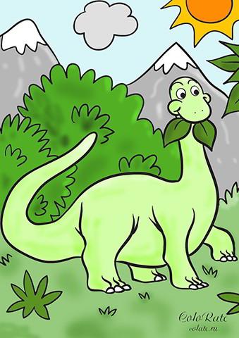 Брахиозавр - пример раскрашивания