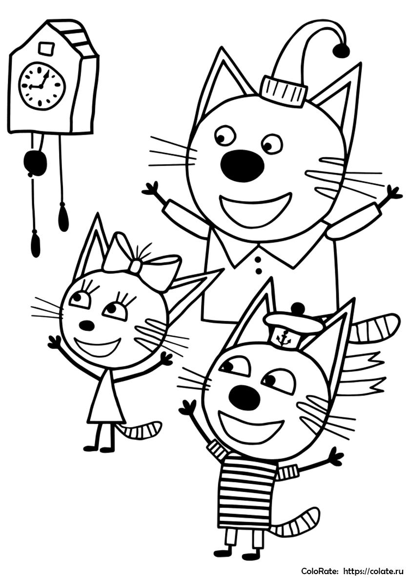 Раскраска Три кота и часы с кукушкой распечатать на А4