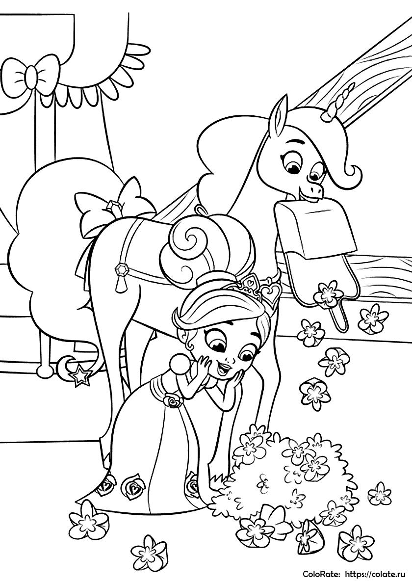 Раскраска Тринкет принес Нелле цветы распечатать | Нелла