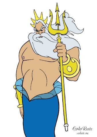 Царь Тритон из Русалочки - как раскрасить