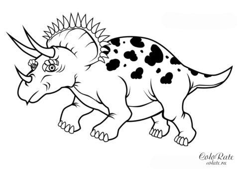 Трицератопс в профиль - раскраска для печати (А4)