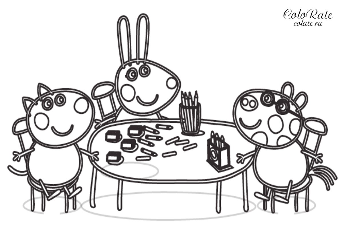 Раскраска Творческий коллектив распечатать | Свинка Пеппа