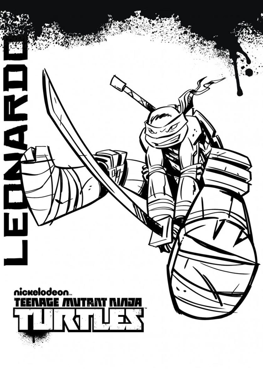 Раскраска Удар мечом от Леонардо распечатать | Черепашки ...