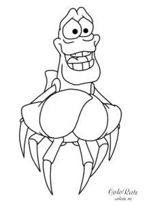 Русалочка - раскраска Себастьяна из мультфильма
