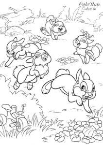 Разукрашка про зайцев - Ушастые озорники