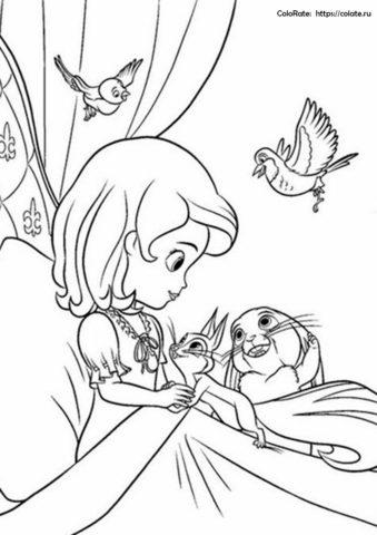 Утро Софии Прекрасной в замке - бесплатная раскраска для девочек