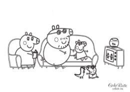 Детская раскраска - Вечернее телешоу - из мультика Свинка Пеппа распечатать на А4
