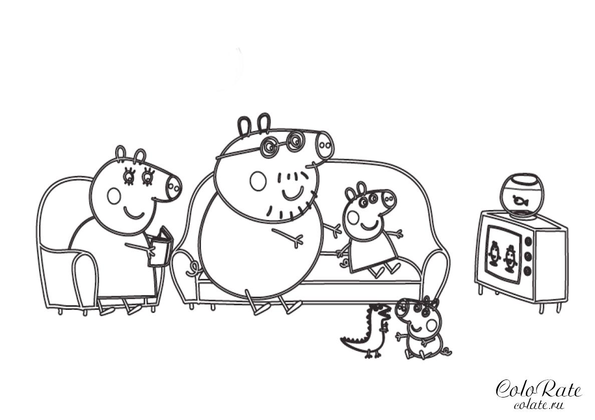 Раскраска Вечернее телешоу распечатать | Свинка Пеппа