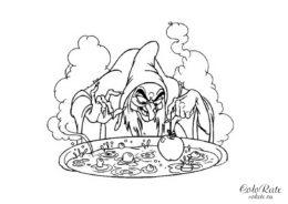 Злая мачеха и отравленное яблоко - раскраска из мультфильма про Белоснежку