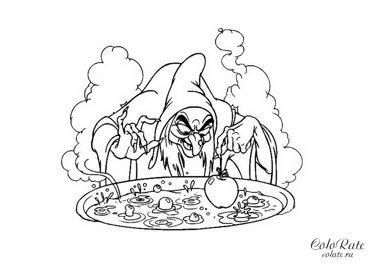 Раскраска Ведьма и отравленное яблоко распечатать | Белоснежка