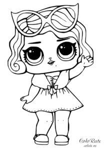 Раскраска куклы LOL - Ведущая девочка распечатать