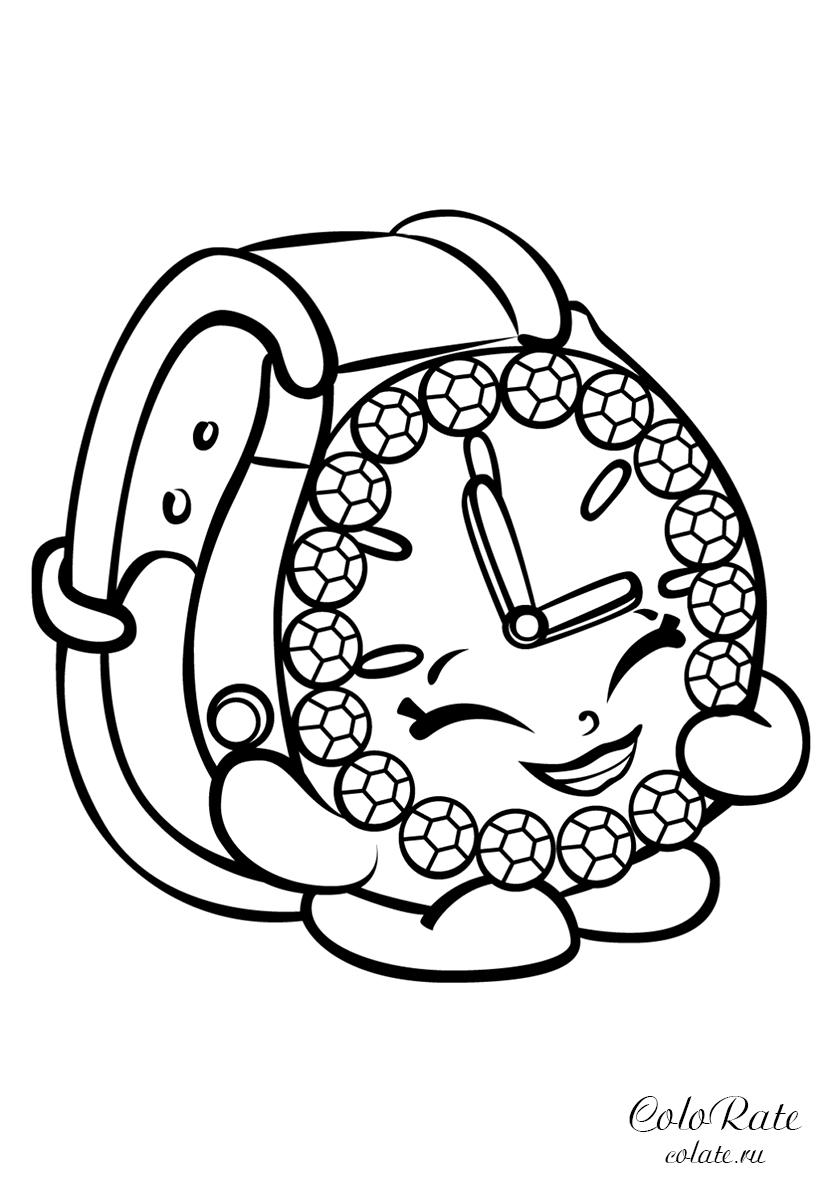 Раскраска Великолепные часики Тик-Так распечатать | Шопкинс