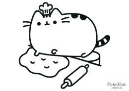 Раскраска Pusheen the Cat повар для детей
