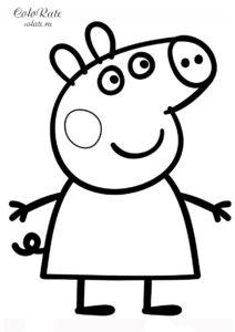 Веселая свинка Пеппа - бесплатная раскраска для детей распечатать