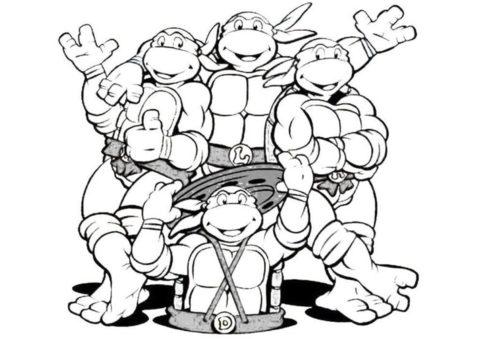 Веселые черепашки ниндзя раскраска для детей