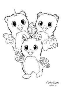 Раскраска с питомцами Хетчималс для детей