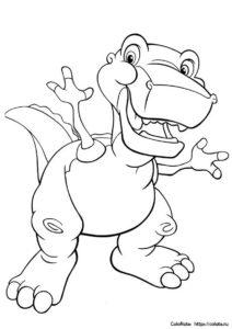 """Бесплатная раскраска """"Веселый динозаврик"""" распечатать на листах формата А4"""