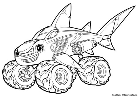 Вспыш - акула распечатать раскраску для мальчиков