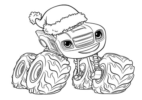 Вспыш в рождественской шапке - детская разукрашка из мультфильма Вспыш и чудо-машинки распечатать на А4
