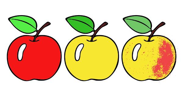 Яблоко - примеры раскрашивания