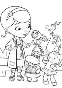 Доктор Плюшева - раскраска - Заболевание телескопа для детей
