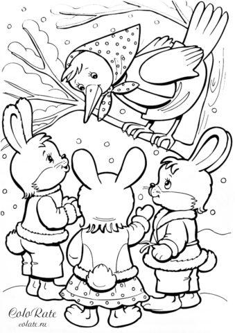 Раскраска - Разговор зайцев с вороной - скачать и распечатать