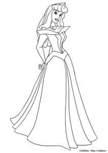 Застенчивая принцесса Аврора - Спящая красавица - распечатать на А4 и скачать раскраску