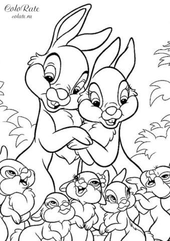 Большое семейство зайчиков - раскраска для печати на А4