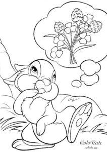 Раскраска с зайчиком, который очень хочет кушать