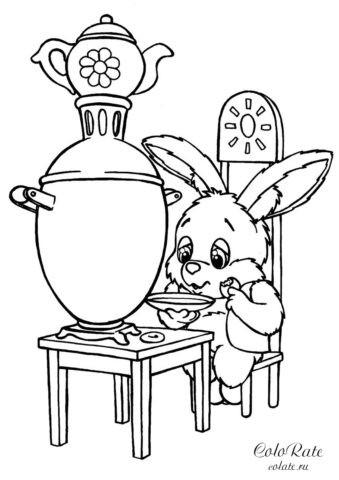 Раскраска для печати - Зайчик пьёт чай из блюдечка