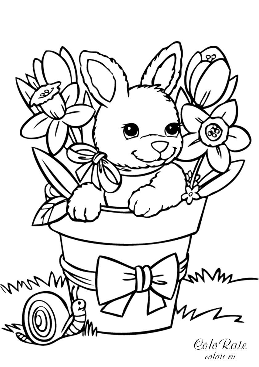 Раскраска Зайчик в корзинке распечатать | Зайцы, кролики