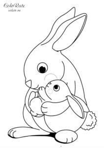 Зайчишка с мамой - разукрашка для детей