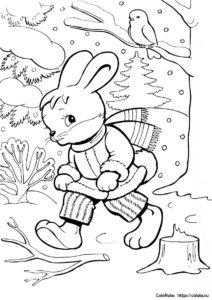 Зимнее приключение - раскраска с зайчиком в лесу