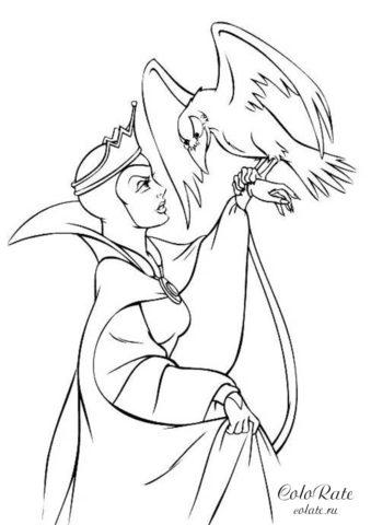 Злая мачеха с вороном - раскраска из мультфильма Белоснежка