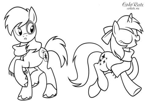 My Little Pony - пони со знаками отличия - бесплатная раскраска для девочек